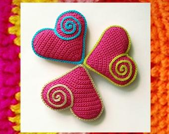 Amigurumi Heart Pattern. Cute Heart Souvenir. In love. Valentine's Day gift. Red Pink. Crochet curl. Easy to do. Heart crochet pattern. DIY
