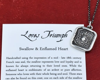 Loves Triumph - Swallow and Enflamed Heart Wax Seal Necklace - Ardent Hope, Love and Affection- 128