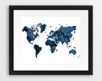World map watercolor print world map watercolor navy blue world map watercolor print world map silhouette watercolor blue indigo navy travel map modern wall art home office decor diy printable gumiabroncs Images