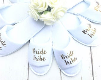Bride Tribe | Bridal slippers | Hen Party Slippers | Bridal Party | Wedding Slippers | Personalised Spa Slippers | Spa Slippers | Gift