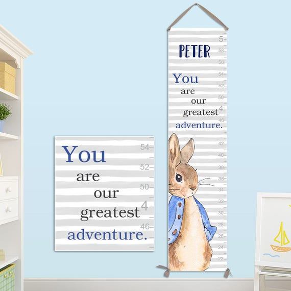 Peter Rabbit Growth Chart - Personalized Canvas Growth Chart, Peter Rabbit Nursery, Peter Rabbit Prints, Peter Rabbit Baby Shower - GC4013B