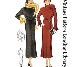1934 Ladies Coat With Stand Up Collar - Reproduction Sewing Pattern #T1541