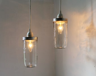 Mason Jar Pendant Lights, Set of 2 Hanging Mason Jar Pendants Lighting Fixture, BootsNGus Lighting and Home Decor