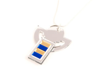 Geometric Perspex Statement Necklace - Silver, Gold, Blue FORM_008