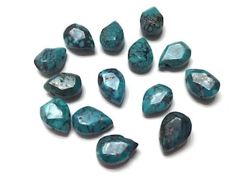 14 pieces 7x10mm Genuine Turquoise Gemstone Beads, Blue Gemstone, Natural Turquoise
