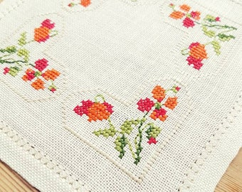 Beautiful cross stitch embroidered tablecloth in white linen from Sweden