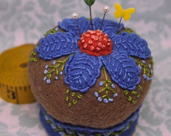 Made to order - Cornflower Blue Floral Pedestal Pincushion