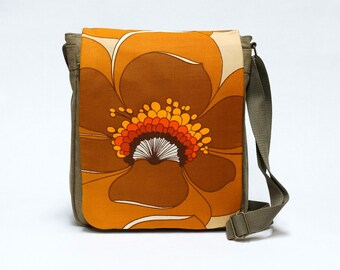 Canvas Retro Messenger Bag upcycled with original vintage fabric in brown and orange