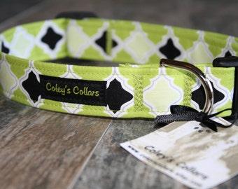 """Dog Collar, Dog Collars, Girl Dog Collar, Boy Dog Collar, Female Dog Collar,Green Dog Collar, Moraccan Dog Collar,   """"The Mosaic"""""""