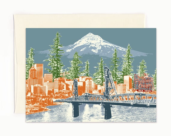 Watching Over Portland Notecard - Portland, Oregon - full color - folded Greeting Card - Single or Set of 6