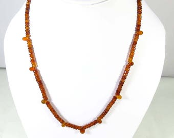 Garnet faceted Beads. Natural Hessonite Garnet Necklace. Rarest~Faceted Garnet Beads. garnet gemstone Necklace Jewelry 18 inch Long. KB-143