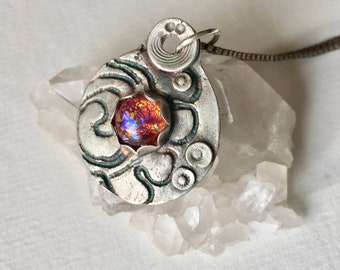 artisan pendant necklace:  foil opal and sterling