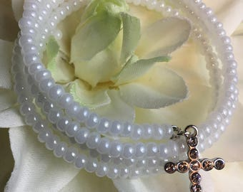 Large Arthritis Friendly No Clasp Adjustable Wrap Bracelet, High Sheen White Glass Beaded Wrap Bracelet, Cross Charm White Beaded Bracelet