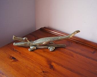 Large vintage brass crocodile nutcracker,