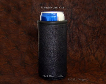 Bison Leather Beer Holder Michelob Ultra Beer Can Coolie Cowhide Leather Beer Huggie Leather Beer Huggy White Claw Beer Holder Anniversary