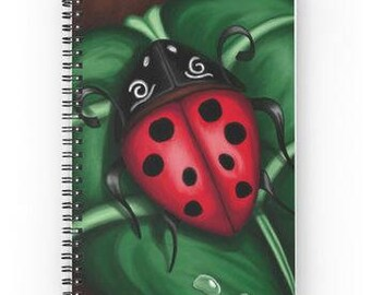 Book lady bug A5 - accessory-office - notebook - red and green book - book girl - girl home gift - art print