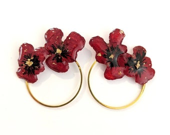 Red Pansy Earrings with Gold Leaf Accents on Gold Hoops |Natural Pansies in Resin