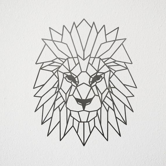 geometric lion metal art. Black Bedroom Furniture Sets. Home Design Ideas