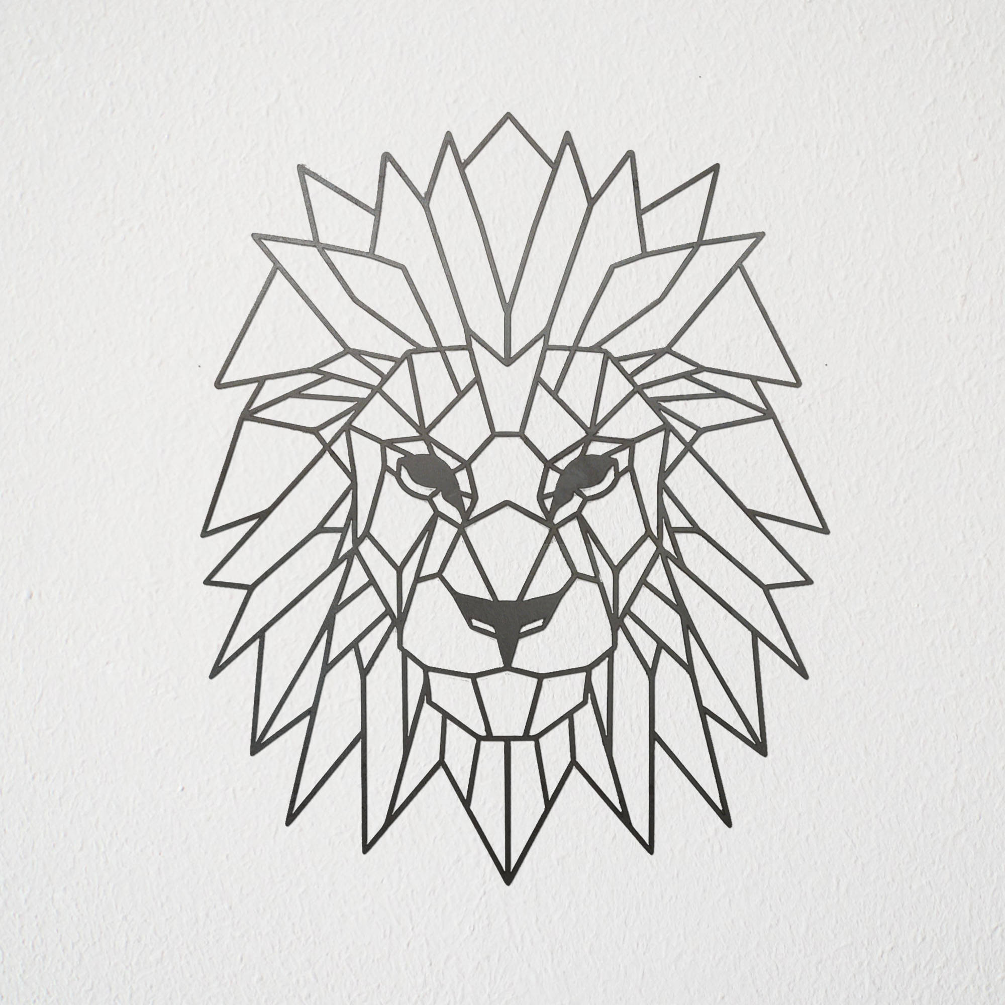 White Metal Art Geometric Lion Metal Art
