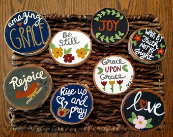 Wood Magnets, Scripture Magnets, Fridge Magnets, Small Wood Signs, Birch Wood Slices, Wood Kitchen Decor, Rejoice, Amazing Grace, Be Still