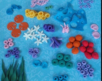 Fondant Under the sea assorted pieces + wooden sign