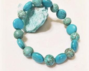 Magnesite blue beaded stretch bracelet, blue stone bracelet, magnesite stretch bracelet