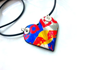 Red Bull Energy Teen Girl Jewelry Women Gift for Teen Handmade Heart Upcycled Aluminum Can Jewelry Necklace Handmade - N51