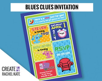 Blues Clues Birthday Party Personalized Printable Invitation Invite DUO Grid 2 Kids Children Twins