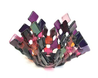 Fused Glass Shades of Violet/Coral/Purple/Plum/Pink Lattice T-light/Candle holder/WeddingGift/Birthday/Mum/mothers day