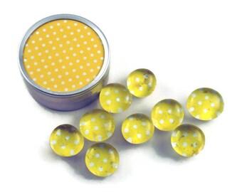 Glass Push Pins  Yellow Thumb Tacks Cork Board Pins in Lemon Polka Dots  with Gift Tin (PT97)
