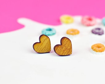 Wooden Heart Earrings | Valentines Gift | Heart Shaped Jewellery | Nickel Free for Sensitive Ears