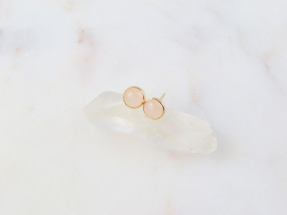 Rose Quartz Studs | Gemstone Earrings | Rose Quartz | Stud Earrings | Birthday Gift | Silver Earrings | October Birthstone | Gift For Her