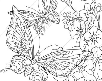 Butterfly and Spring Flowers. 3 Coloring Pages. Animal coloring book pages for Adults. Instant Download Print