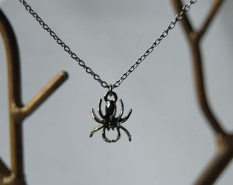 Spooky Spider Necklace   Dark Silver Spider Pendant   Cute Spider Charm Necklace