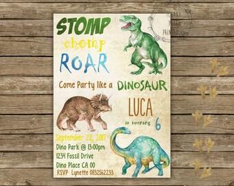 Dinosaur Birthday Invitation, Dinosaur Invitation, Dinosaur Birthday Party, Dinosaur Party, Dino Party Invite, Dinosaur Dig, Editable
