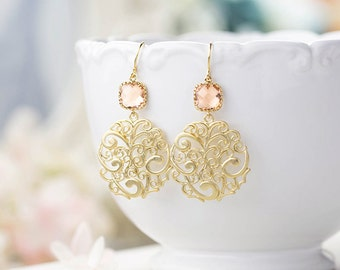 Peach and Gold Dangle Earrings Peach Champagne Wedding Jewelry Gold Paisley Filigree Earrings Bridal Earrings Bridesmaid Earrings Gift