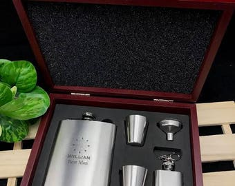 Personalised Engraved Stainless Steel Hip Flask Set in Wooden Gift Box - Will You Be My Groomsmen