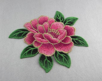 Embroidery Peony Flower Appliques, Only Sew On