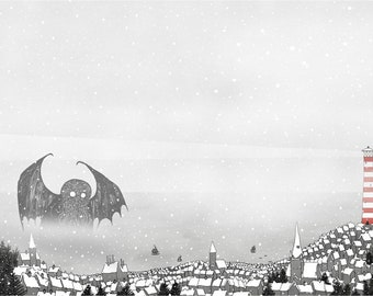 Cthulhu in the Snow A2 Art Print