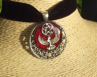 Pagan Egyptian Goddess Isis Pentacle Red Glitter Necklace. Stars, Wicca, Ancient Egypt