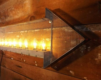 Arrow sign - Marquee industrial steampunk arrow with mesh and edison light bulbs