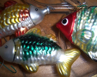 Rare Vintage Blown Glass Christmas Tree Fish Ornaments West Germany Mercury Glass Hand Painted Set of Three