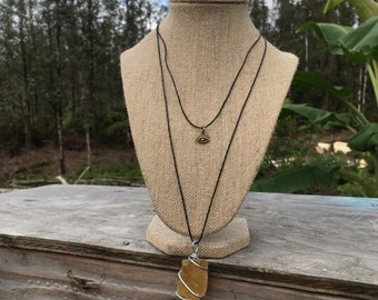 NEW~ Double cord Amber Calcite with 3rd eye charm