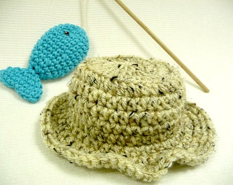 Baby Fishing Hat and Fish - Photo Prop - Baby Hat