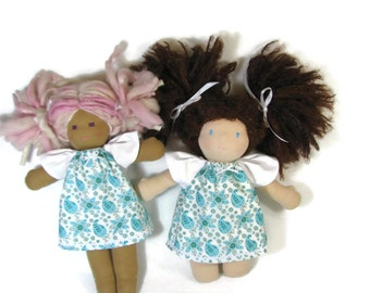Doll dress for your 10 to 12 inch Waldorf doll, in turquoise and white paisley flutter sleeve dress