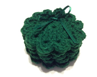 Forest Green Crocheted Face Scrubbies- Miniature Set Of Five