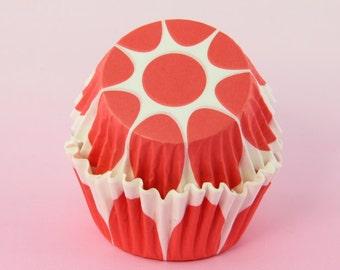 Red Orange Scallop Tulip Cupcake Liners Edged Tulip Flower, 2'' Standard Size, Baking Cups Bulk