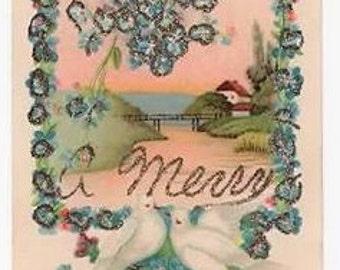 Vintage Postcard, XMAS, DOVES, River Scene, Forget-me-Nots, Glitter, c1910