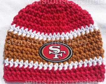Crochet Baby Hat, Baby Football Hat, Crochet Beanie Hat in San Francisco Colors- Baby Photos - Newborn and Baby Sizes Available