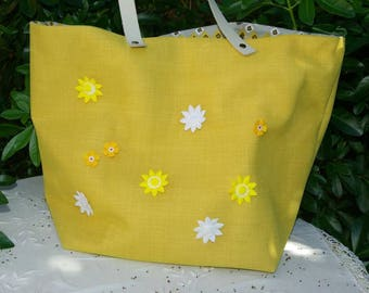 """Tote bag """"Sausalito"""" canvas and yellow tulle"""